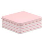 Scatola latta con base quadrata e coperchio ad appoggio utile per torte, e prodotti cosmetici